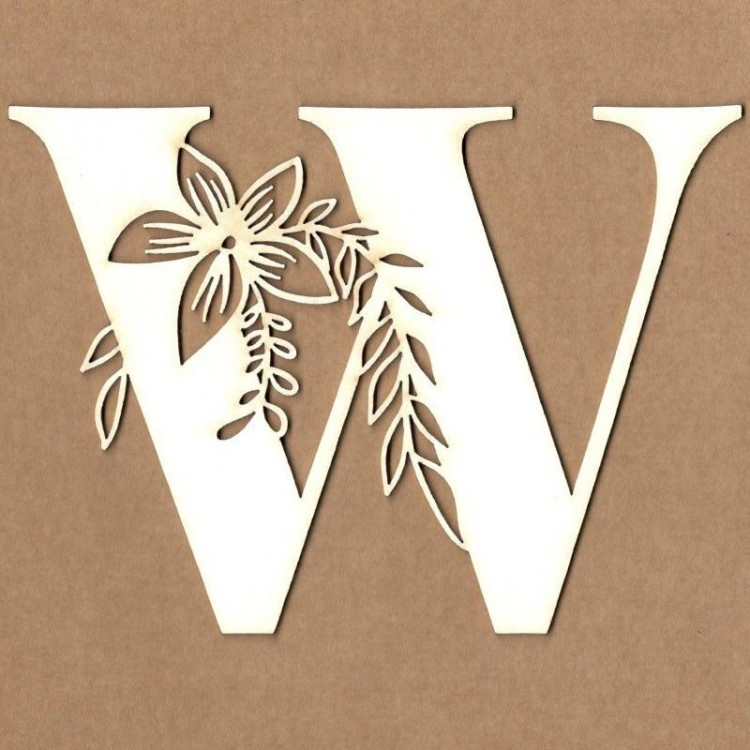chipboard – Initial floral letter - W