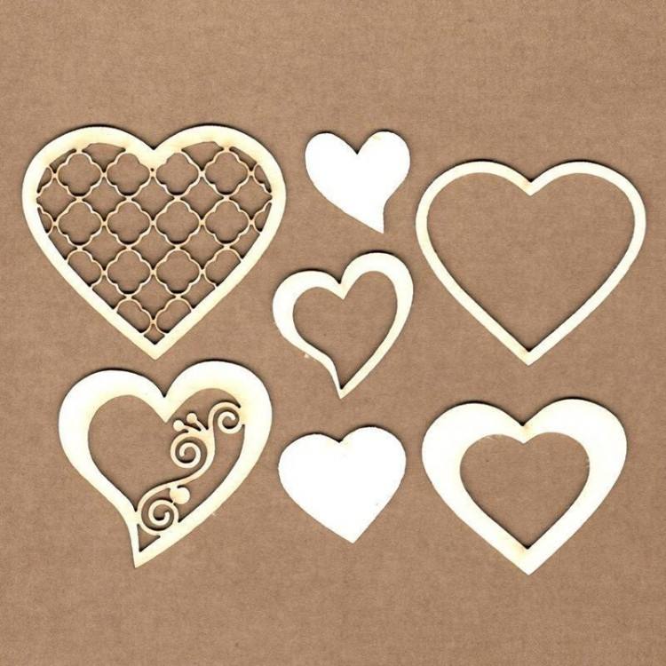 Set of chipboard – Decorated hearts