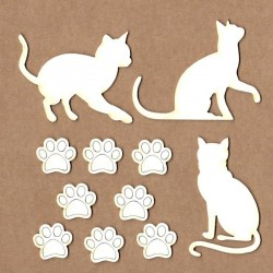 Set of chipboard – Cats