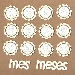 Set of chipboard – Badges 12 months (in Spanish)