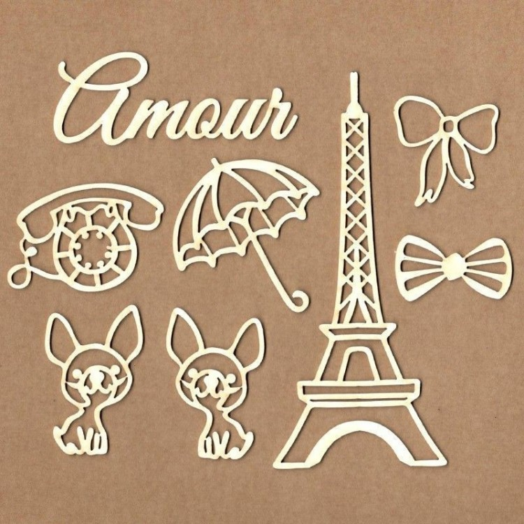 Set of chipboard - Mon Amour